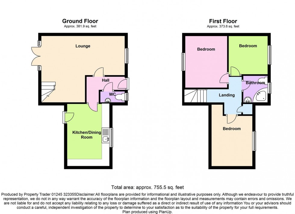 Floorplan for Hallowell Down, South Woodham Ferrers